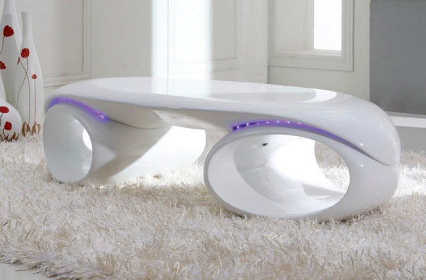 Glossy White Coffee Table With Led Lights Vg74 Contemporary