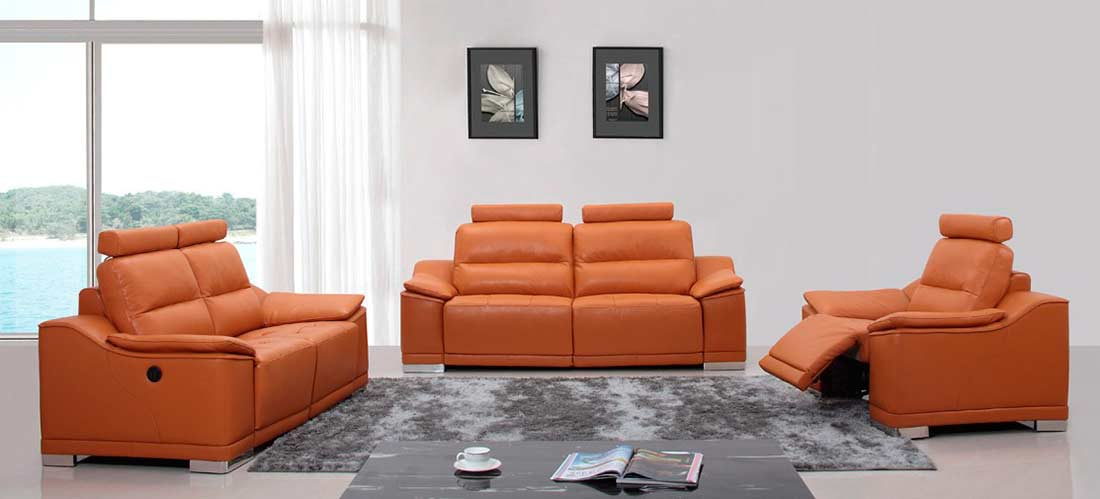Leather Sofa Set With Headrests Vg46