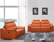 Modern Orange Leather Sofa Set with Headrests VG46