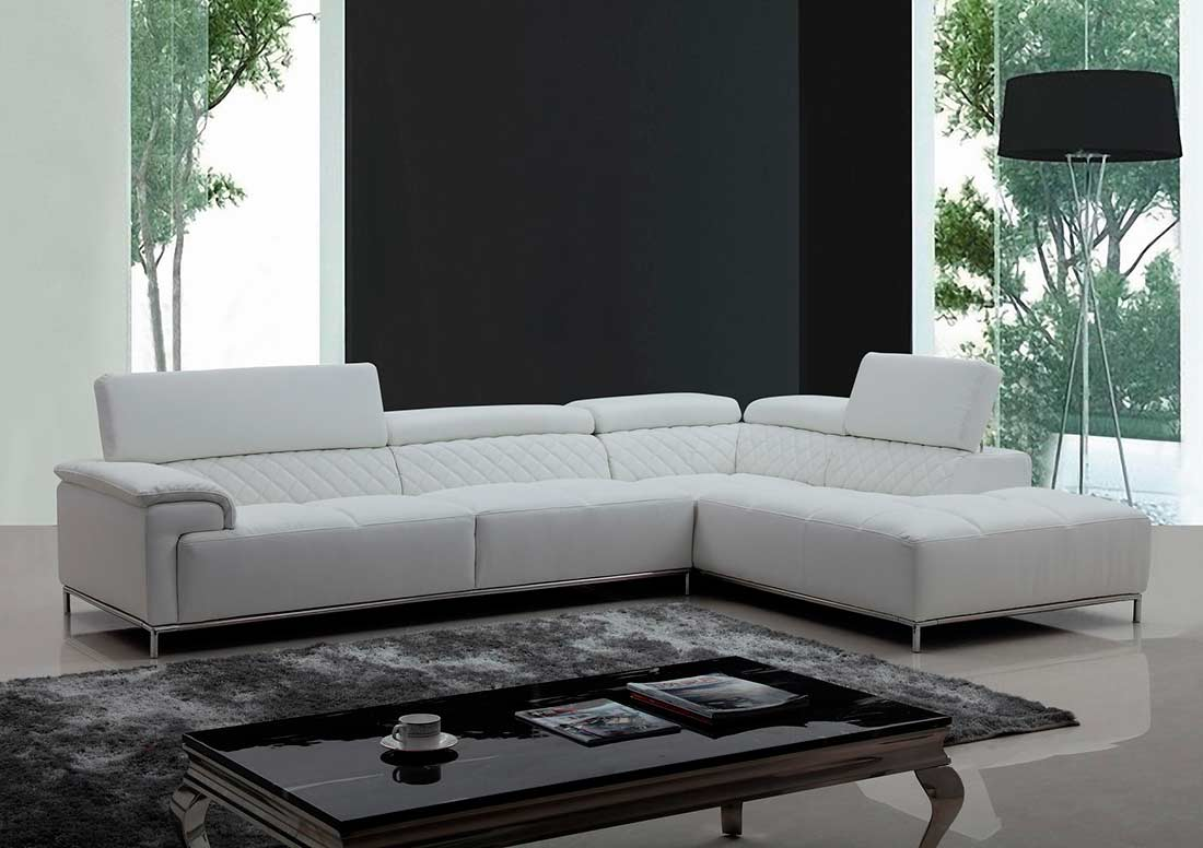White Eco Leather Sectional With Audio System Vg 482