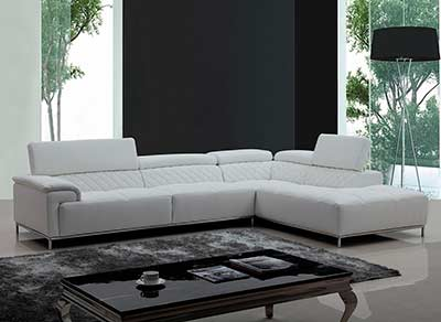 White Eco-Leather Sectional with Audio System VG 482