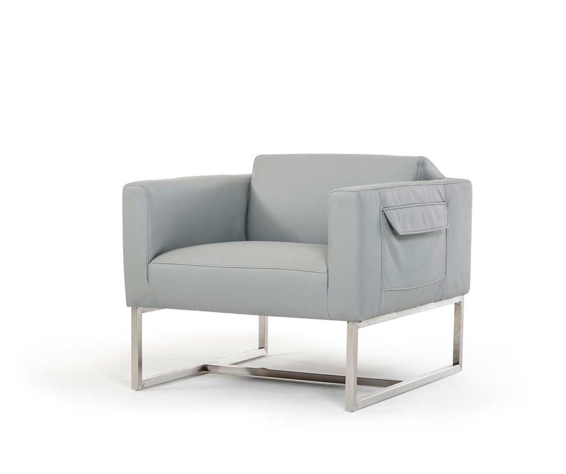 Gray Leather Chairs : Grey modern chair in eco leather vg accent seating