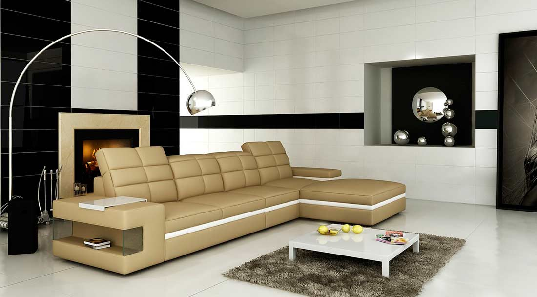 Beige Leather Sectional Sofa Vg132 Leather Sectionals