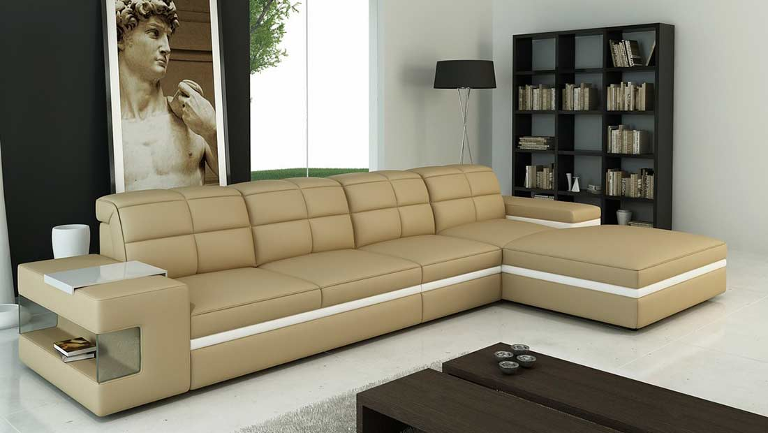 Beige Leather Sectional Sofa VG132