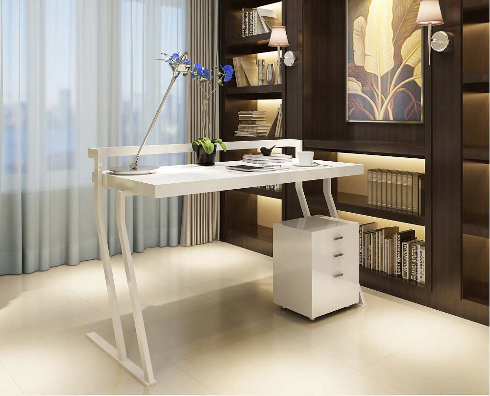 Modern white gloss office desk sj48 desks for Modern white office