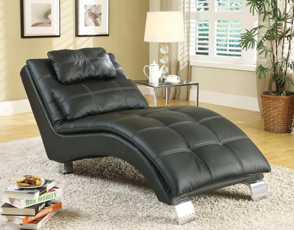 Black bonded leather chaise accent seating for Bonded leather chaise