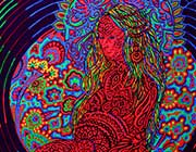 Unique fluorescent visionary art SR Pacha Mama