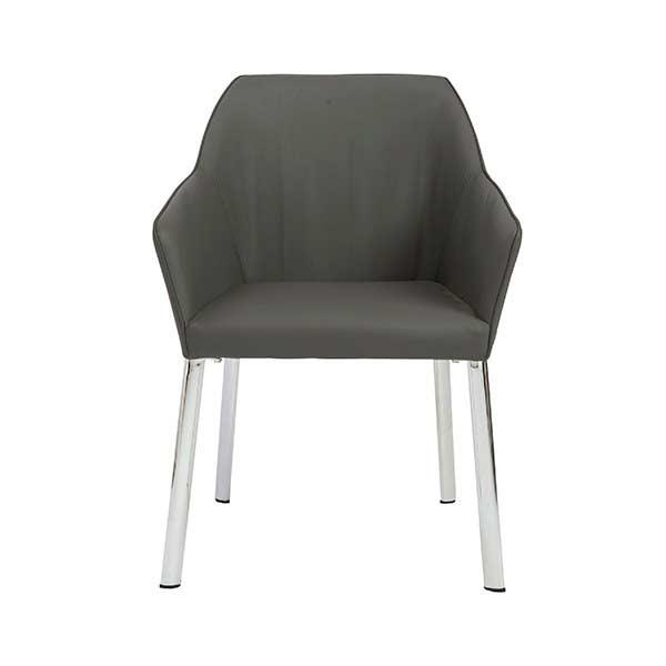 Dark grey leatherette arm chair adam accent seating
