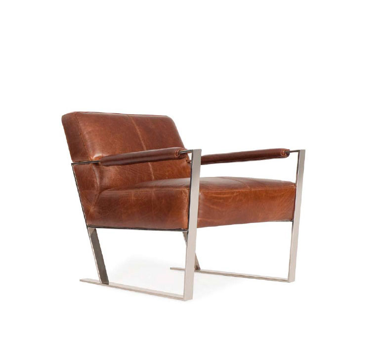 Cognac leather lounge chair by moroni accent seating for Modern leather club chair