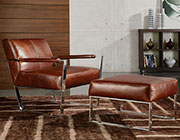 Cognac Leather Lounge Chair by Moroni