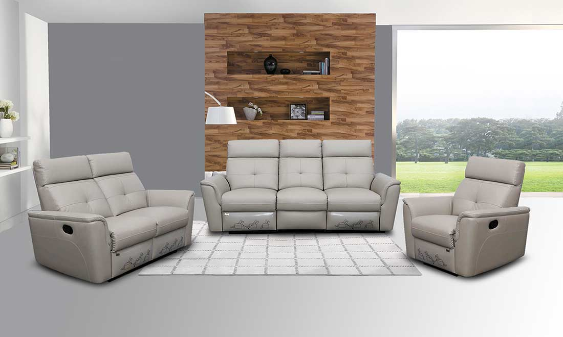 Reclining Grey Leather Sofa Ef501 Leather Sofas