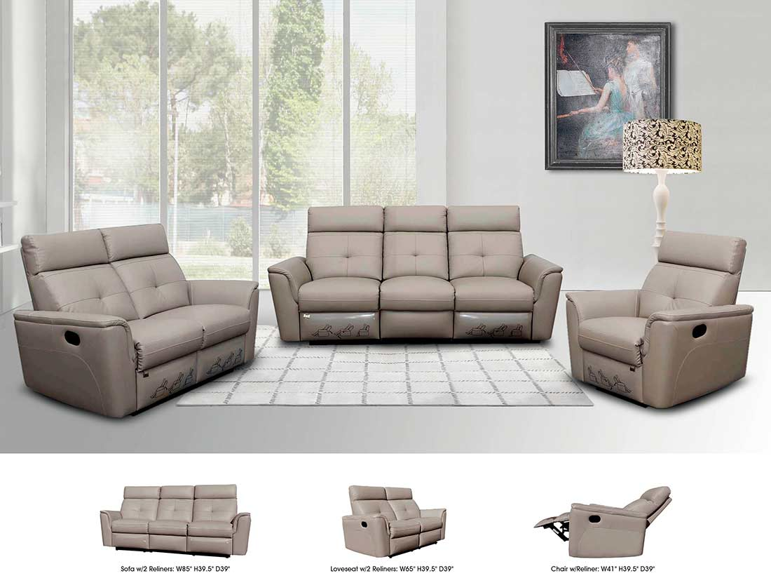 reclining grey leather sofa ef501 leather sofas. Black Bedroom Furniture Sets. Home Design Ideas