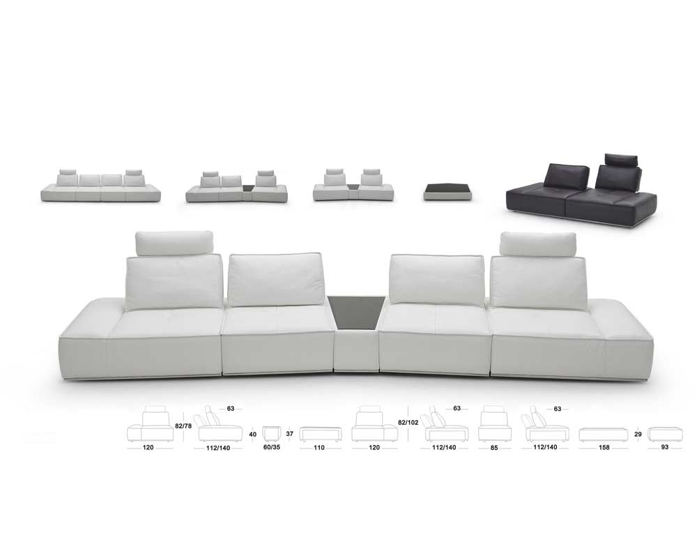 Modular Grey Sectional Sofa Nj323 Leather Sectionals