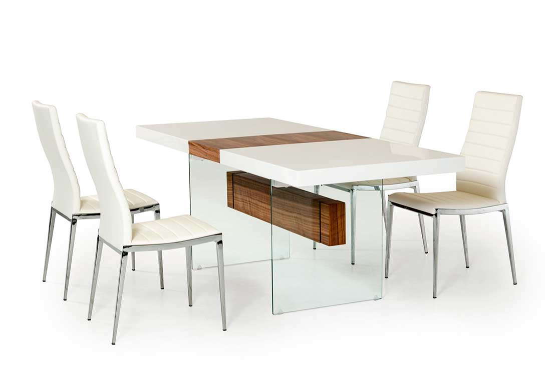 White and walnut extendable dining table vg001 modern dining for Modern dining table and chairs