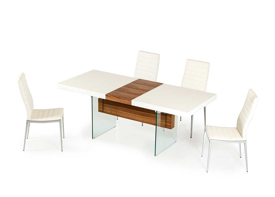 White and walnut extendable dining table vg001 modern dining for Stylish dining table