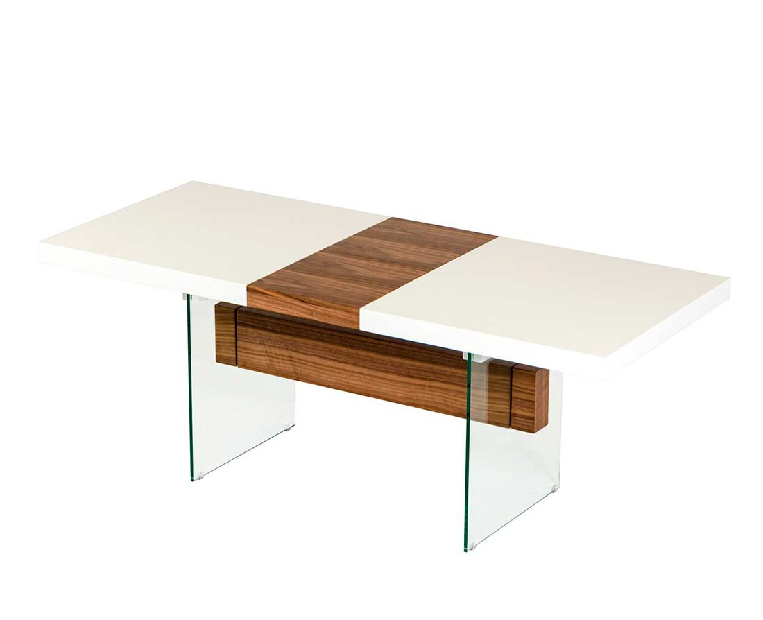 White And Walnut Extendable Dining Table VG001 Modern