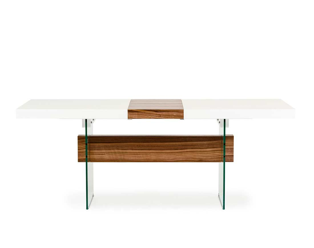 Aico Dining Room Furniture White And Walnut Extendable Dining Table Vg001 Modern Dining