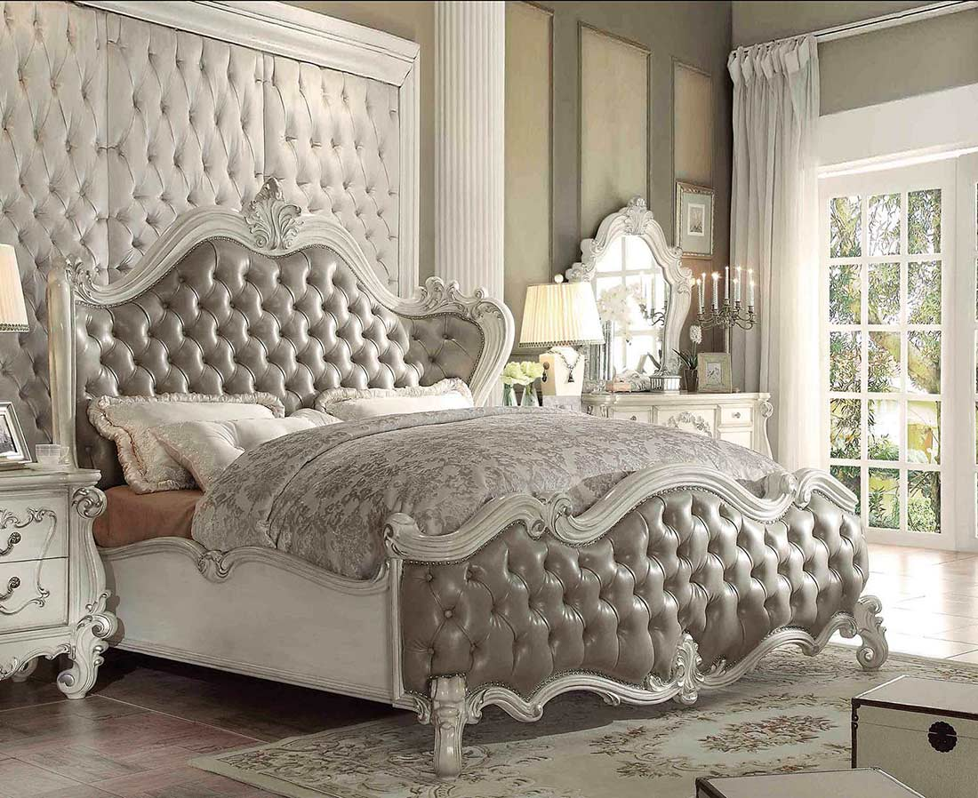 Gray Leatherette White Bone Sleigh Bed AC Chatueau | Traditional Bedroom