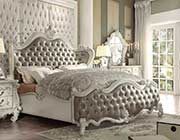 Gray Leatherette White Bone Sleigh Bed AC Chatueau