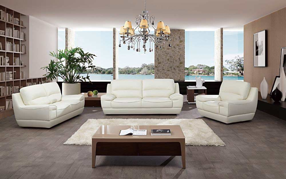 Attirant Italian White Leather Sofa Set AEK 18W