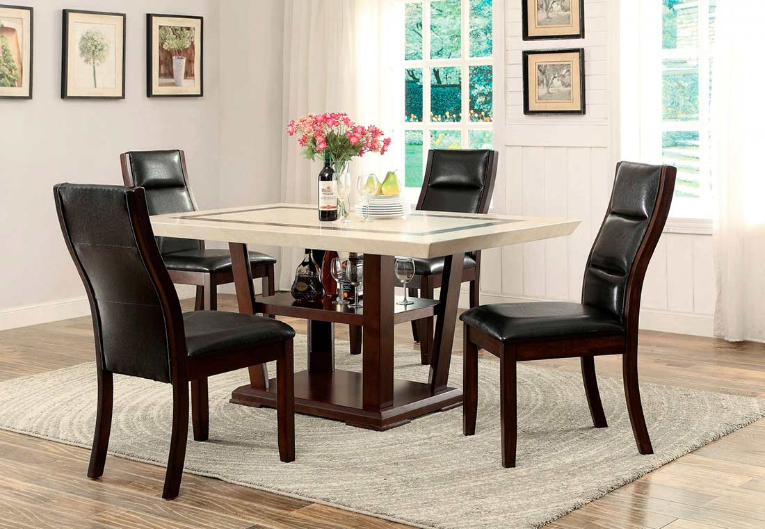 marble top dining table co441 urban transitional dining. Black Bedroom Furniture Sets. Home Design Ideas