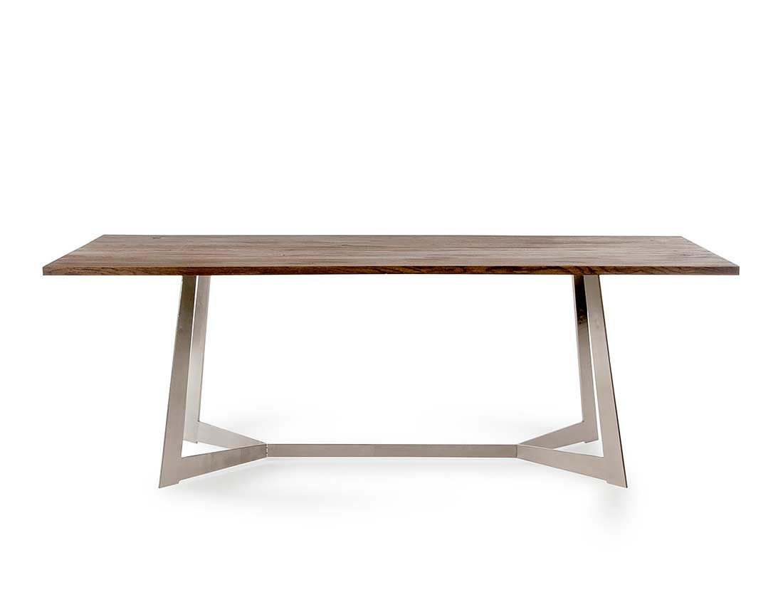 Modern dark aged oak dining table vg418 modern dining for Contemporary oak dining table