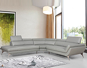 Grey Leather Sectional Sofa VG541