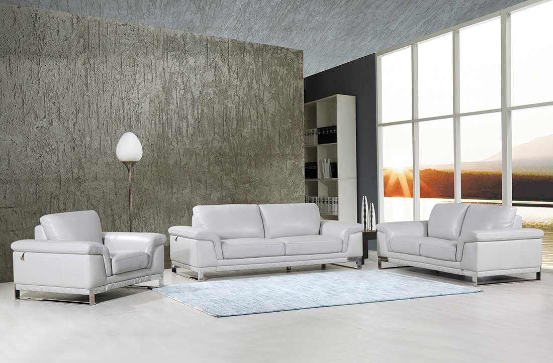 Light Gray Leather Sofa DI11