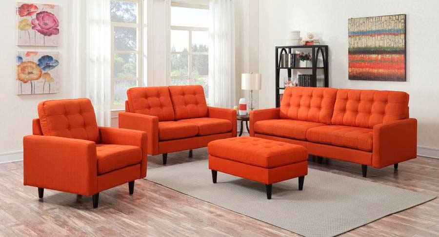Orange Fabric Sofa Set Co 371