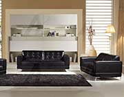 Black Italian leather sofa set AEK 003