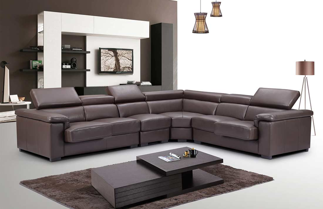 Brown Leather Sectional Sofa Ef 605 Leather Sectionals