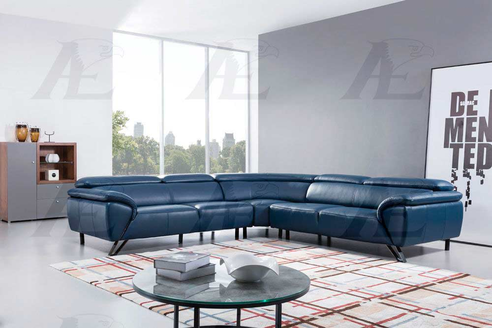 Navy Blue Leather Sectional Sofa AE 002 | Leather Sectionals