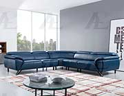 Navy Blue Leather Sectional Sofa AE 002