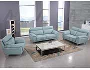 Light Blue Top Grain Leather Sofa set AE528