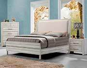 Antique White Finish Upholstered Bed AC 980