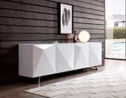 Modern White Buffet Tempered Glass Top ST 439