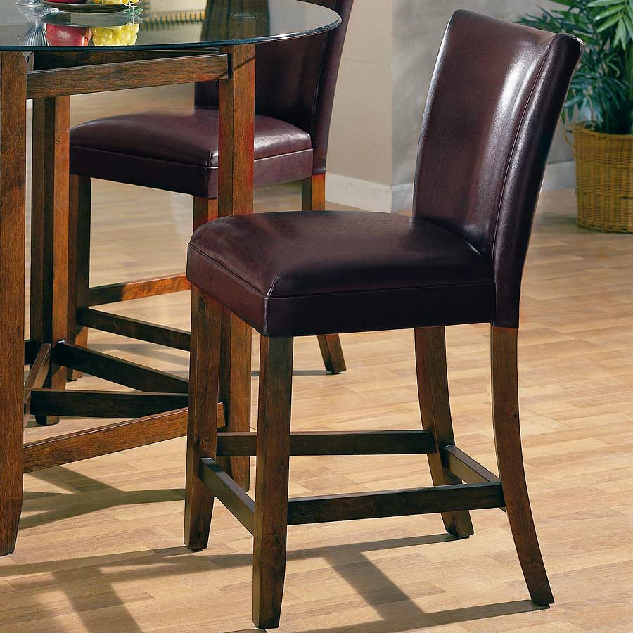 Contemporary Style Brown Vinyl Counter Stool Bar Stools