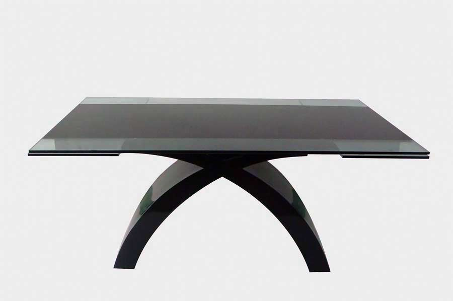 CR216 Glass Top Dining Table With Extension