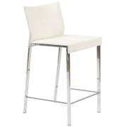 Riley Leather Counter Chair-White-Chrome