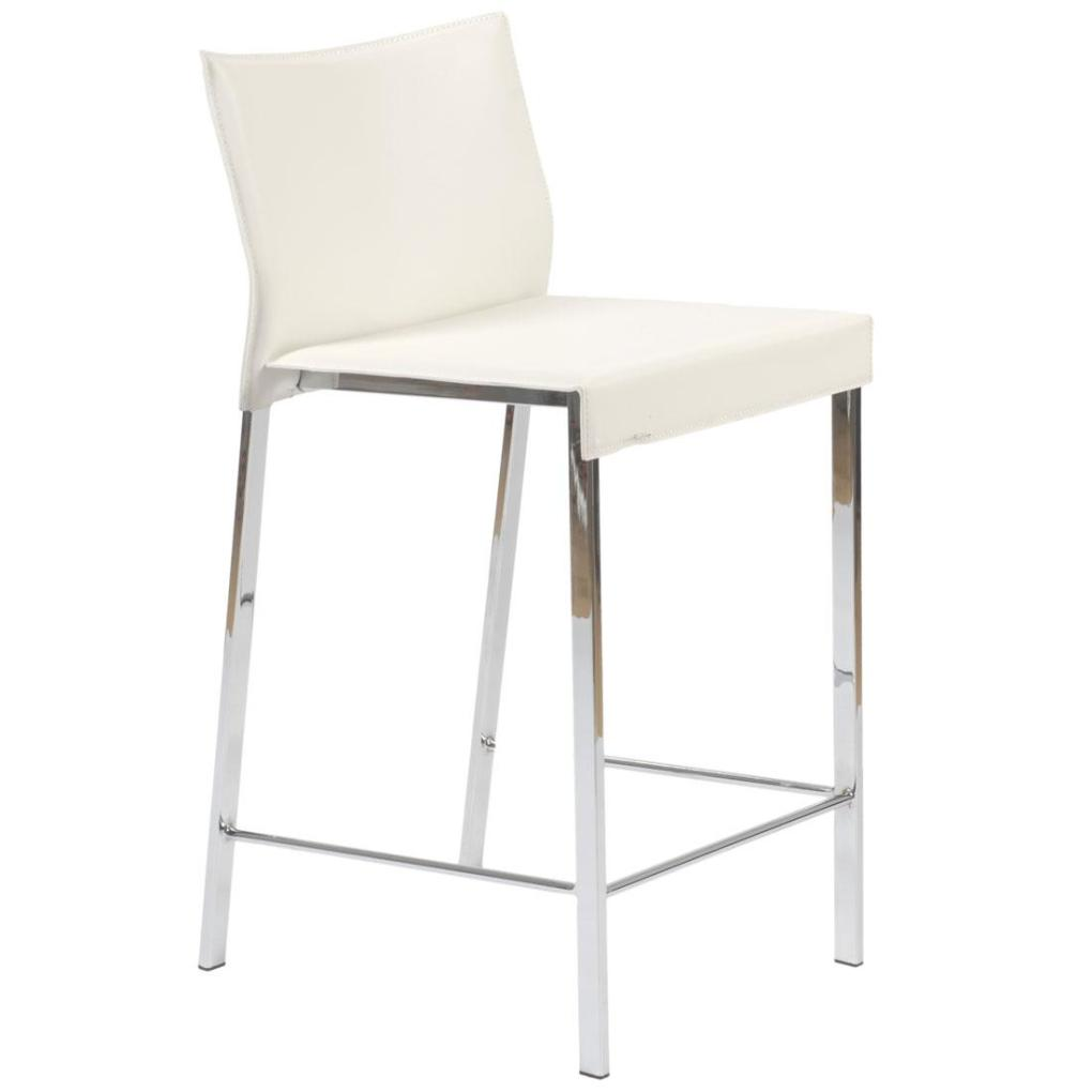 Riley Leather Counter Chair White Chrome Bar Stools