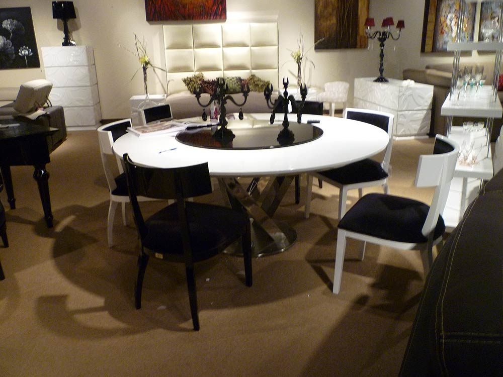 Contemporary dining table set vg83 modern dining for Modern large round dining table