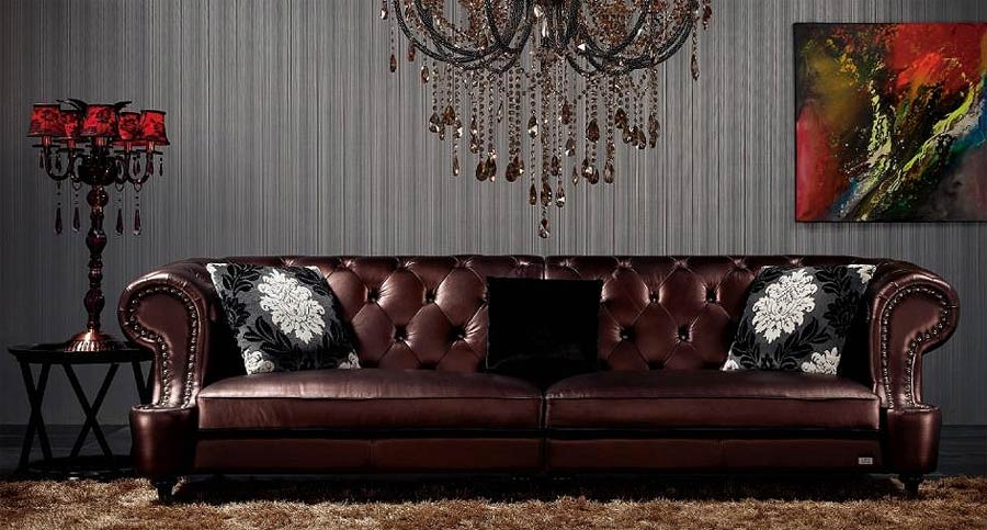 Sofa Set Leather Black VG029
