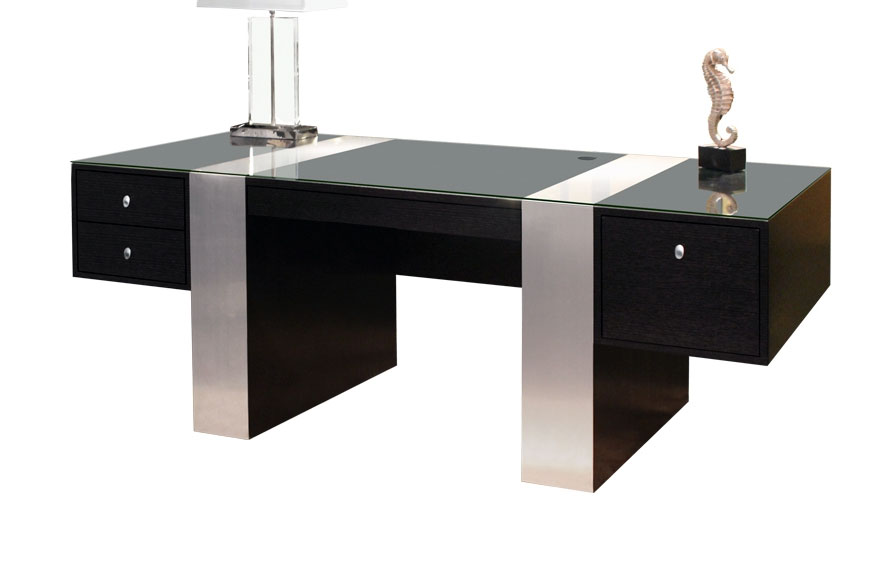 Stainless steel.LUXURY Desk avaliable also in dark cuppuccino finish