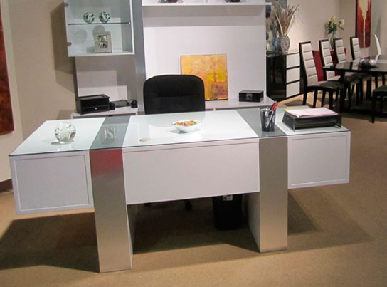 Sh01 white lacquer desk executive for Modern white office