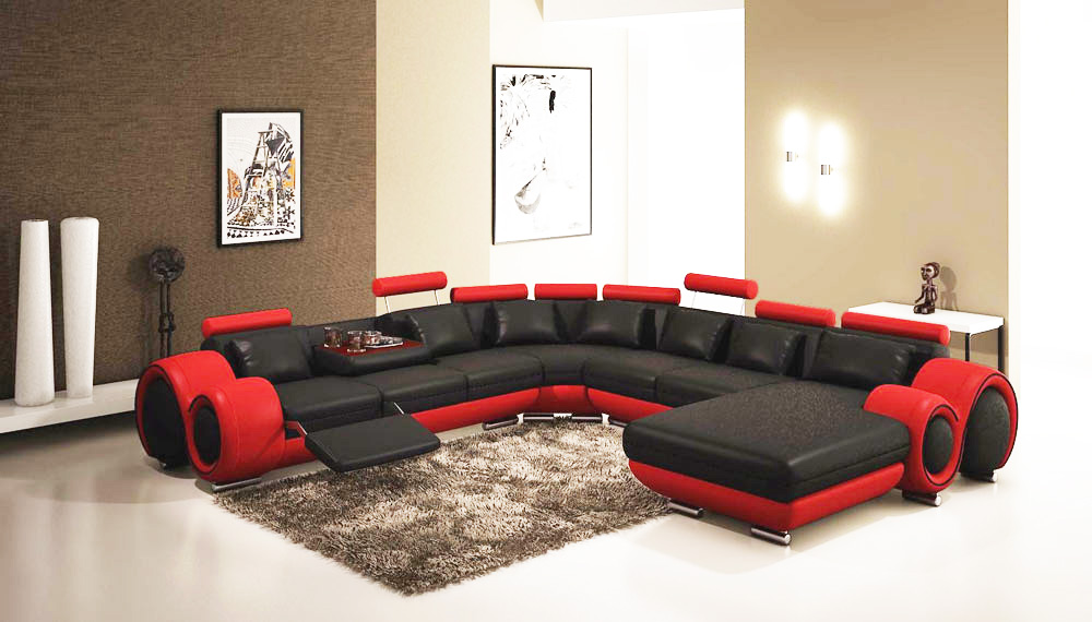 Gemma Modern Black and Red Sectional Sofa | Leather Sectionals