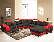 Gemma Modern Black and Red Sectional Sofa