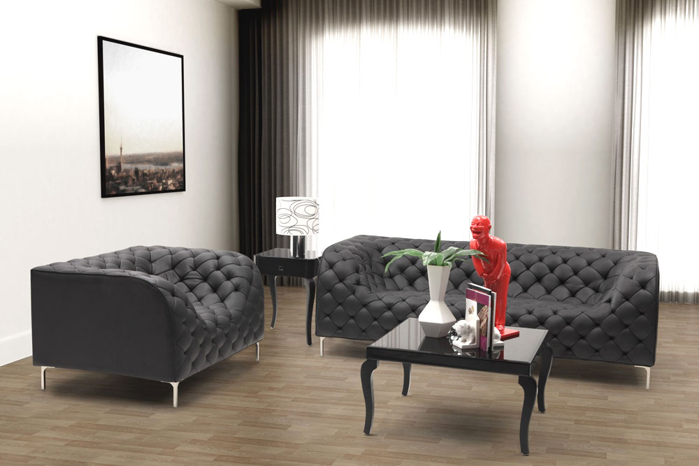 Modern Black Leatherette Sofa Set Prime Leather Sofas