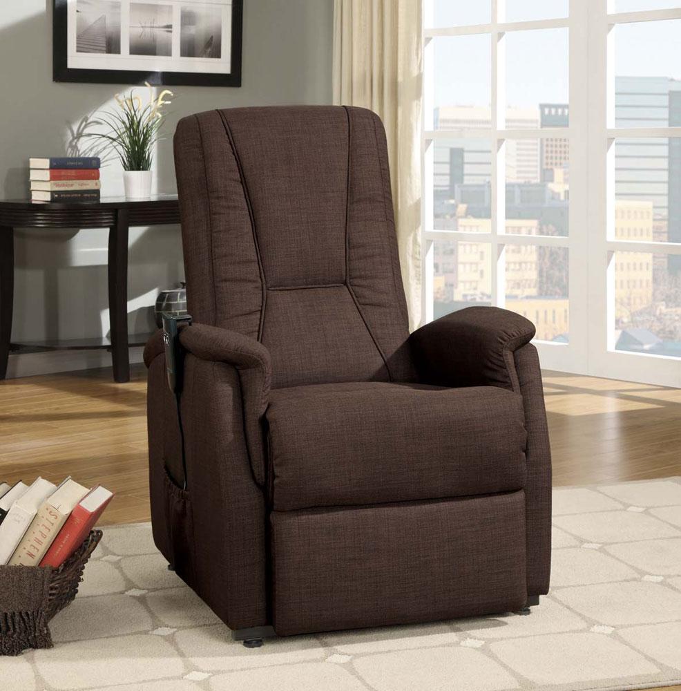 Dark Brown Fabric Power Lift Chair | Recliners
