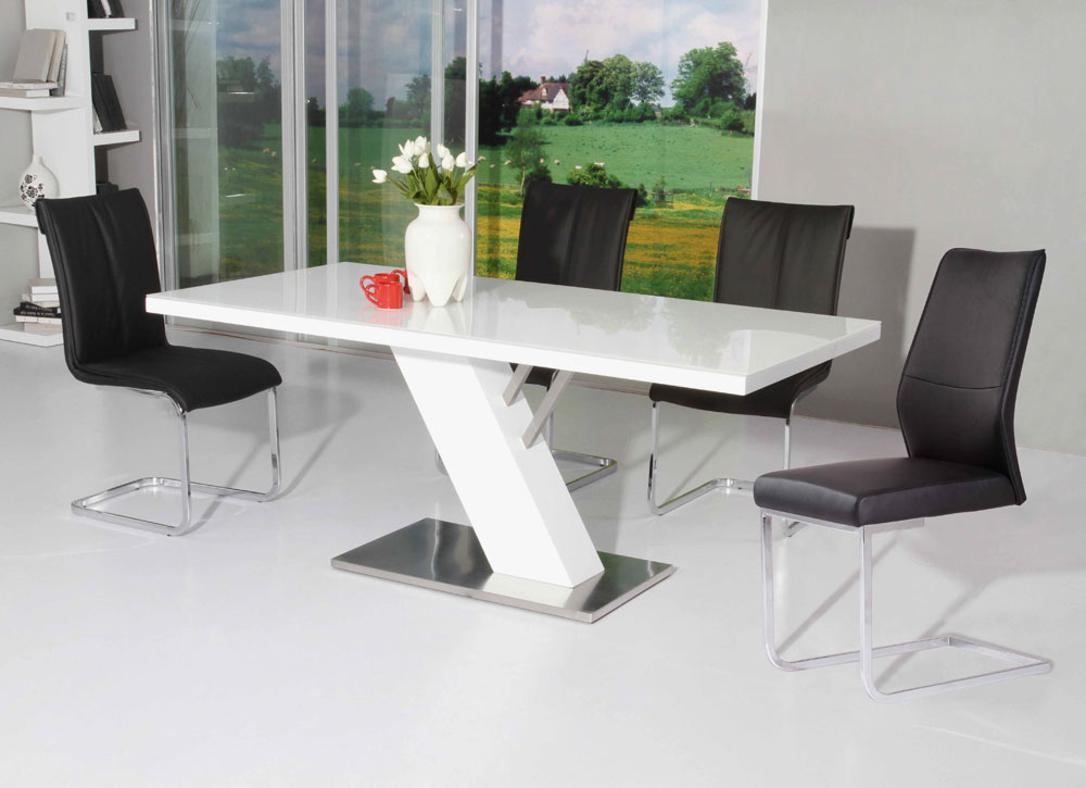 Dining table modern white lacquer dining table for White dining table set