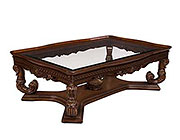 BT 089 Traditional Mahogany Coffee Table with Glass top